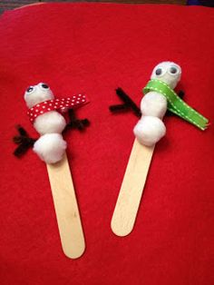 Snowman puppets  Winter crafts for kids @trinity jackson jackson Christian Preschool Poquoson