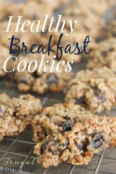 these healthy breakfast cookies are so easy, and barely contain any sugar -  they're sweetened with fruit, and just a smidgen of honey!
