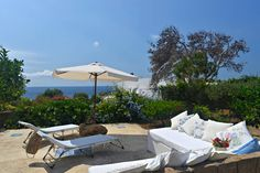 Terrace in the garden with seaview, Panarea.