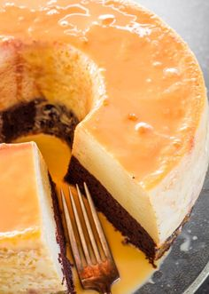 An amazing magic flan cake with a chocolate layer and flan cake layer. As the cake bakes as the chocolate layer floats to the top and the flan to the bottom.