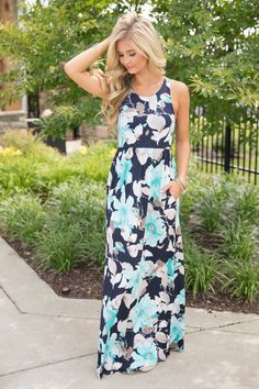 Thinking Of My Love Floral Maxi Dress Mint - The Pink Lily
