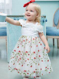 7c3b0137d8b3 Off Shoulder Floral Spicing Princess Dress Tulle Embroidery For Toddler  Girls