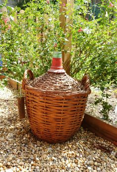 Demijohn wicker covered bottle vintage french home 1970s by Frenchidyll, $30.00