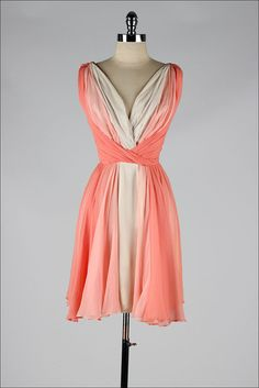 vintage 1960s dress . Lilli Diamond . peach by millstreetvintage
