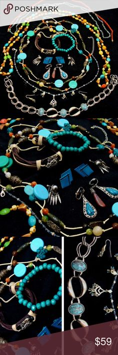"""Vintage jewelry lot-Nice southwestern bundle Nice vintage  southwestern jewelry.  Necklaces-long interesting bead, discs , forms 56"""" ; mottled blue cabuchons silvertone links 15"""" choker ; triangle and oval beads , forms 52"""" ;glass or stone beads dark amber color beads 19"""" ; blue mottled stone beads 33"""" ;  18"""" beads and charms with matching pierced earrings. Blue beads and """"animal"""" bead bracelet . Stone pendant and 3 pair of clip earrings. Gorgeous lot of  beautiful jewelry , fine condition…"""