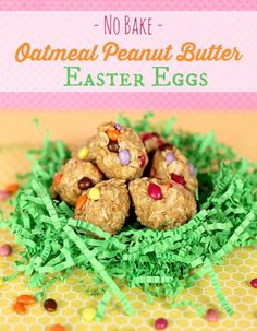 Healthy Recipe No Bake Oatmeal Peanut Butter Easter Eggs with Coconut, Honey, Mini Chocolate Covered Sunflower Seeds or M&Ms.