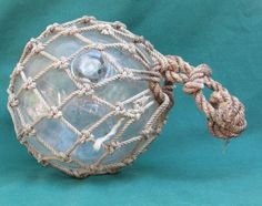 """Vintage Northwestern Glass Clear 5"""" Fishing Float Buoy 1947 NW Hand Knotted Net #NorthwesternGlassCo"""