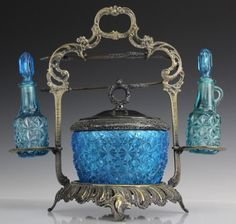 Victorian Era Blue Glass Pickle Castor or Relish Stand.