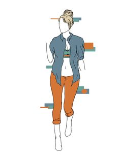 Festival Goddess; casually rolled up at the cuffs, the #bullheadblack #pacsun skinny jeans provide the bright festival flair to keep the outfit in spirit. Paired with a loose boyfriend shirt and a color blocked bandeau, this outfit is comfortable, casual, and unforgettable.  These are original drawings by Madelyn Riehl (Gizmoa)