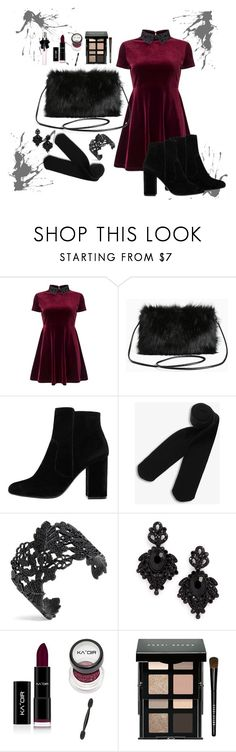 """favwitchy"" by moumantai13 ❤ liked on Polyvore featuring Miss Selfridge, Torrid, MANGO, Monki, Tasha, Bobbi Brown Cosmetics, Yves Saint Laurent, black, red and makeup"