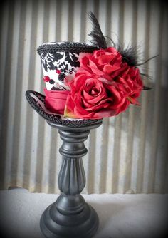 Queen of Hearts Mini Top Hat, Tea Party Mini Top Hat, Mad Hatter Hat,…