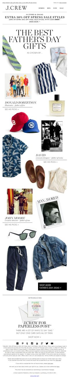 Sent: 6/2/14 | SL: Open this or we'll tell your father |  Father's day gift guide email from J. Crew featuring staff picks