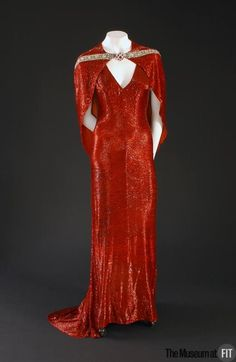 red pavé bugle beads silk crepe dress gown - mgm film costume - by adrian - usa - circa 1937