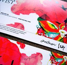 Grafik til postkort til tøjfirmaet I.say/ Udarbejdet af grafisk designer Anne Mark Møller / Designbureauet Anetmai