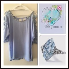 """Beautiful Sky Blue Open Arms w/Embellishments Top Stunning detailed lace sleeves with crystals & pearls at scoop neckline,  100% polyester- dry clean only  3/4 sleeve Chest 38"""" Center length back 25"""" Brand new with tags Many versatile items available, feel free to check out my closet! Tops Blouses"""