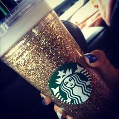 DIY glitter starbucks cup. Done with adhesive spray & glitter.