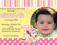 Girl 1st birthday invitation diy custom printable birthdays printable minnie mouse first birthday invitation filmwisefo Image collections