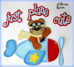 Airplane w Bear Pilot ELITE4U KAM PREMADE TEAR BEAR PLANE PAPER PIECING FOR BORDER MAT SET PAGE ALBUM