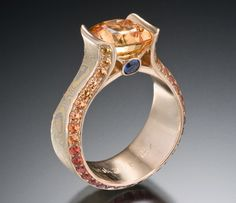 Juicy Liqueur Engagement Ring with Orange Sapphire and Mokume Gane