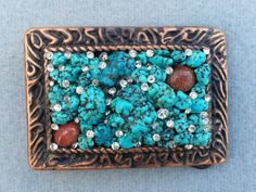 Turquoise belt buckle, Womens, Vintage rhinestones, Goldstone, Boho, Bling, Free shipping, perfect gift