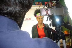 """Attendees were able to share their """"Everyone Leads"""" story at the storytelling booth in Milwaukee"""
