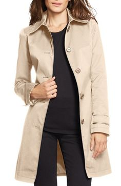 Lauren Ralph Lauren Faux Leather Trim Single Breasted Trench Coat available at #Nordstrom