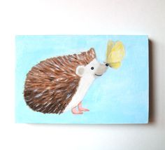 Hedgehog with Butterfly Original Painting Cute Illustration by mikaart, $39.99 mikaart.etsy.com