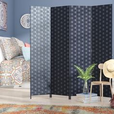 """You'll love the Dakhla 70.75"""" x 70.5"""" 4 Panel Room Divider at Wayfair - Great Deals on all Décor & Pillows products with Free Shipping on most stuff, even the big stuff."""