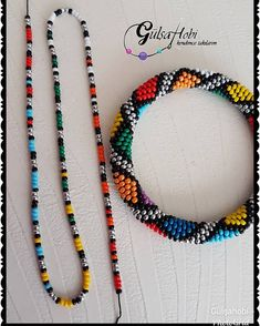 Orange Pearl Necklace Set for Ladies - Jewellery Set - African Beads Jewellery Set - Tribal Jewellery Set - Zulu Necklaces - Maasai Necklaces - Your Present Seed Bead Bracelets Tutorials, Friendship Bracelets With Beads, Beaded Bracelets Tutorial, Bracelet Patterns, Necklace Tutorial, Beading Tutorials, Bracelet Designs, Crochet Beaded Bracelets, Woven Bracelets