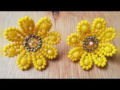 Beaded Earrings Patterns, Bead Earrings, Handmade Beads, Handmade Jewelry, Fashion Beads, Earring Tutorial, Bead Jewellery, Beaded Flowers, Bead Weaving