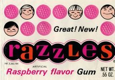 Early packaging for Razzles (late '60s).