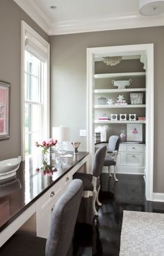 55 Elegant And Exquisite Feminine Home Offices | DigsDigs - bright white crown molding, grey walls and dark wood floor with recessed lighting