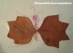 Manualidades con mis hijas. Mariposa con hojas de otoño. Autumn, leaves. Crafts. butterfly