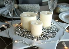 Christmas Candle  Winterland Candles  White Glitter by MiLiCrafts