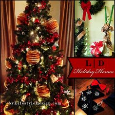 Christmas Tree, Wreath, Ornaments:  Holiday Homes by #LifestyleDesign  http://byLifestyleDesign.com  #Home #Holiday #Decorating