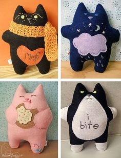 felt fat cats :) if only he black one said I bite! Sewing Toys, Sewing Crafts, Sewing Projects, Cat Crafts, Kids Crafts, Diy Pour Enfants, Felt Cat, Felt Toys, Felt Ornaments