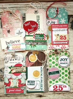 Christmas Gift Tags - ideas for making tags using paper, trim and ribbon scraps, sequins, etc. Christmas Paper Crafts, Christmas Gift Tags, Christmas Projects, All Things Christmas, Handmade Christmas, Holiday Crafts, Christmas Albums, Christmas Post, December Daily