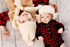 Dress your kids in #winter wear and take a picture of them laying on a rustic floor.  #photography