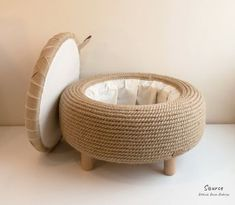 Handmade jute rope ottoman Upcycled car tire One of a kind   Etsy Diy Furniture Table, Unique Furniture, Recycling Furniture, Upcycled Furniture, Furniture Projects, Furniture Design, Upcycled Home Decor, Diy Home Decor, Repurposed