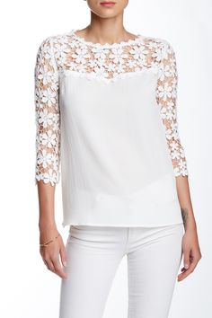 Lace Contrast Blouse by Soieblu on @nordstrom_rack
