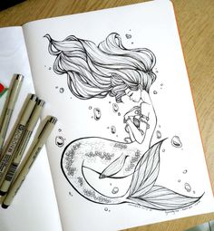 Art of Lynndy Lee Like: lynndylee Cool Art Drawings, Pencil Art Drawings, Art Drawings Sketches, Easy Drawings, Tattoo Drawings, Tattoos Mandala, Tattoos Geometric, Mermaid Artwork, Mermaid Drawings