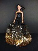 The Most Amazing Black Dress with Lots of Gold Sequins Made to Fit the Barbie Doll:Amazon:Toys & Games