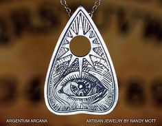 Ouija Planchette Necklace, Planchette Necklace with Etched All-Seeing Eye, Silver Planchette Pendant, Sterling Silver Oracle Pendant