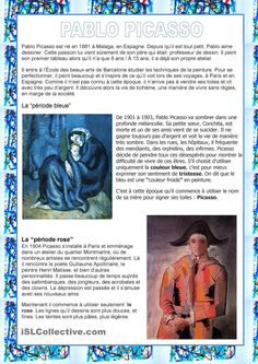 Peintres - Picasso Pablo Picasso, Picasso Guernica, French Teaching Resources, Teaching French, Art History Lessons, Art Lessons, French Education, Art Education, Teaching Culture