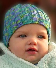 Two Needle Baby Hat in Bunny Hop -  free knitting pattern for baby hat - Crystal Palace Yarns
