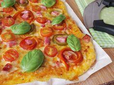 O Meu Tempero: Pizza De Pimentos, Bacon E Tomate Cereja