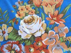 Fabulous Blue Orange Wild 1980s Fabric | Vintage Fabric Addict