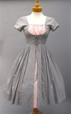 Vintage 1950s Corky Hale Gray & Pink Stripe Lace-Up Corset Dirndl Party Swing Dress