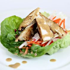 Lettuce wraps are a healthy option for lunch or dinner and peanut dipping sauce make all the difference.