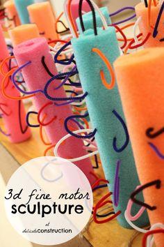 Sculptures with pool noodles {Great Fine Motor Activity} Preschool Classroom, Art Classroom, Classroom Activities, Preschool Activities, Kindergarten, Preschool Checklist, Classroom Checklist, Therapy Activities, Motor Activities